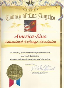 Appreciation Certificate from County of Los Angeles